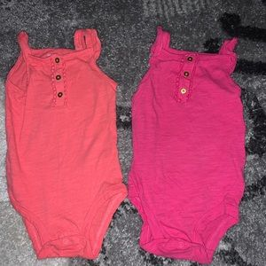 Set of 2 Carter's 18-month onesies- Pink & Salmon